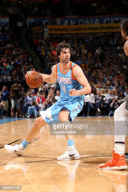 Milos Teodosic of the LA Clippers handles the ball during the game against the Oklahoma City Thunder on March 16 2018 at Chesapeake Energy Arena in...