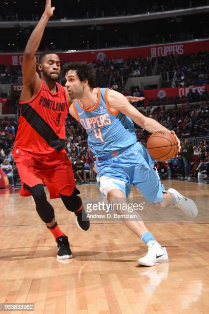 Milos Teodosic of the LA Clippers handles the ball during the game against the Portland Trail Blazers on March 18 2018 at STAPLES Center in Los...