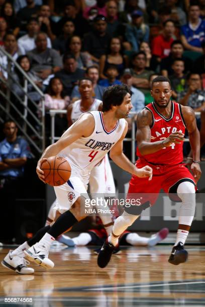 Milos Teodosic of the LA Clippers handles the ball during the preseason game against the Toronto Raptors on October 1 2017 at the Stan Sheriff Center...