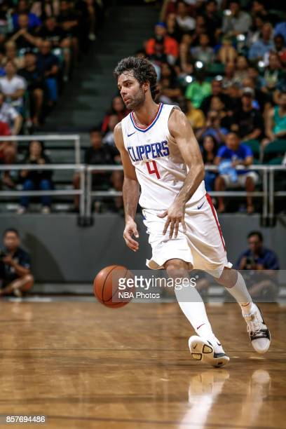 Milos Teodosic of the LA Clippers handles the ball during the preseason game against the Toronto Raptors on October 4 2017 at the Stan Sheriff Center...