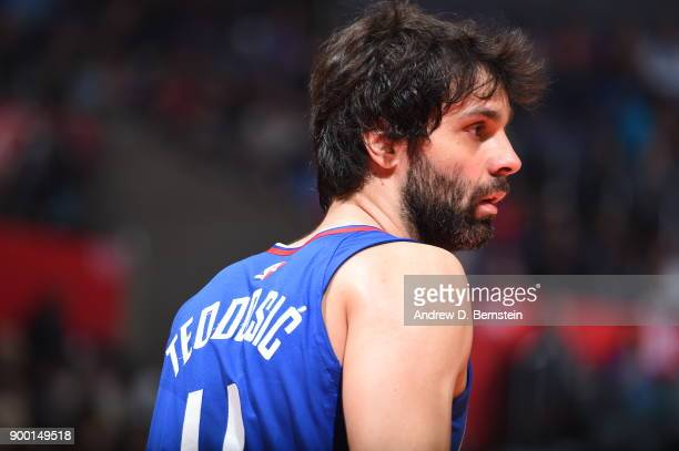 Milos Teodosic of the LA Clippers looks on during the game against the Charlotte Hornets on December 31 2017 at STAPLES Center in Los Angeles...