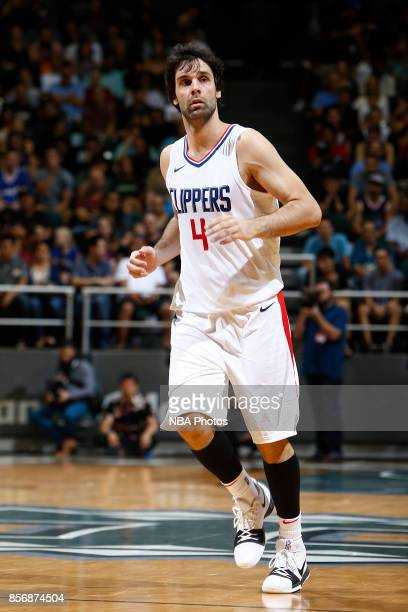 Milos Teodosic of the LA Clippers looks on during the preseason game against the Toronto Raptors on October 1 2017 at the Stan Sheriff Center in...