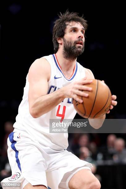 Milos Teodosic of the LA Clippers looks to take a shot against the Brooklyn Nets in the fourth quarter during their game at Barclays Center on...
