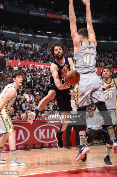 Milos Teodosic of the LA Clippers passes the ball against the Cleveland Cavaliers on March 9 2018 at STAPLES Center in Los Angeles California NOTE TO...