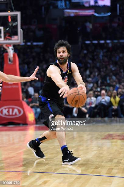 Milos Teodosic of the LA Clippers passes the ball against the Cleveland Cavaliers on March 8 2018 at STAPLES Center in Los Angeles California NOTE TO...