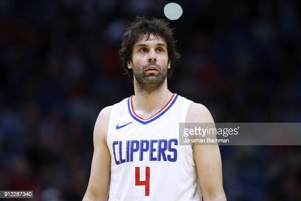 Milos Teodosic of the LA Clippers reacts druing the second half against the New Orleans Pelicans at the Smoothie King Center on January 28, 2018 in...