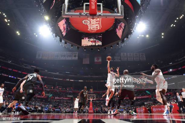 Milos Teodosic of the LA Clippers shoots the ball against the Brooklyn Nets on March 4 2018 at STAPLES Center in Los Angeles California NOTE TO USER...