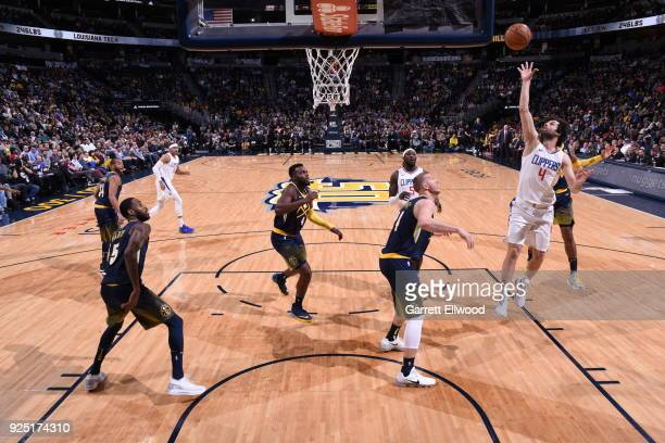 Milos Teodosic of the LA Clippers shoots the ball against the Denver Nuggets on February 27 2018 at the Pepsi Center in Denver Colorado NOTE TO USER...