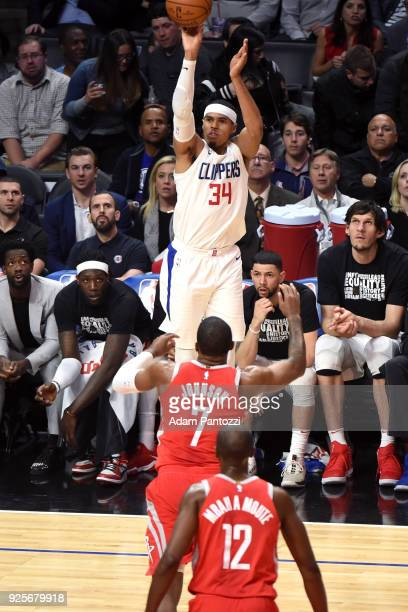 Milos Teodosic of the LA Clippers shoots the ball against the Houston Rockets on February 28 2018 at STAPLES Center in Los Angeles California NOTE TO...