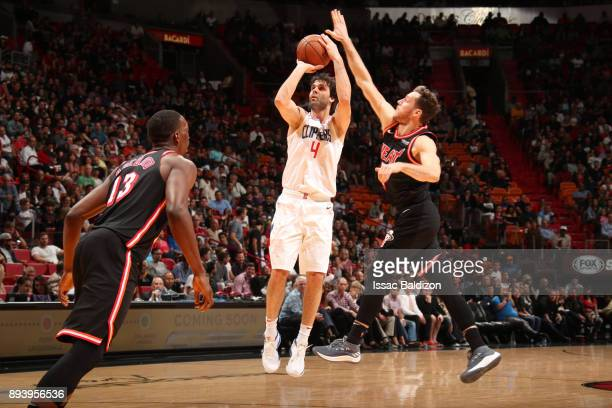 Milos Teodosic of the LA Clippers shoots the ball against the Miami Heat on December 16 2017 at American Airlines Arena in Miami Florida NOTE TO USER...