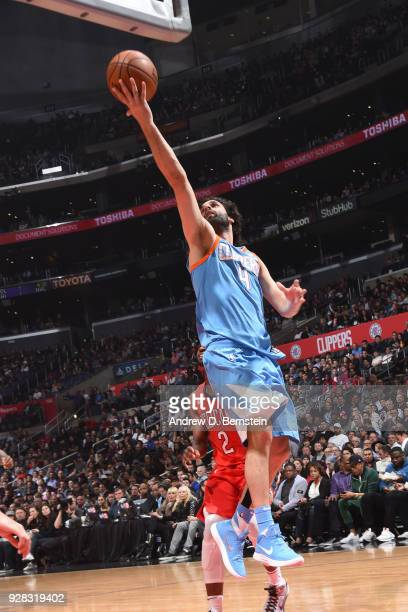 Milos Teodosic of the LA Clippers shoots the ball against the New Orleans Pelicans on March 6 2018 at STAPLES Center in Los Angeles California NOTE...