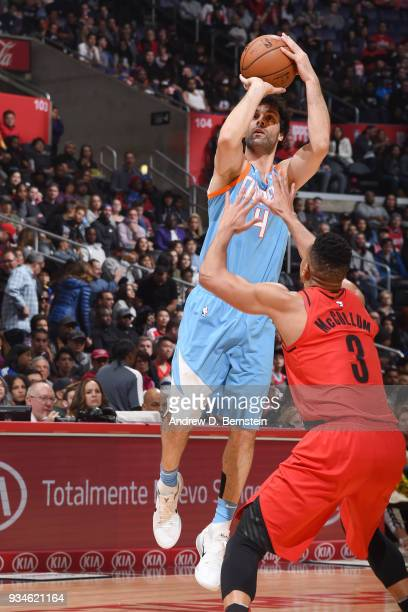 Milos Teodosic of the LA Clippers shoots the ball against the Portland Trail Blazers on March 18 2018 at STAPLES Center in Los Angeles California...