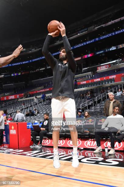 Milos Teodosic of the LA Clippers shoots the ball before the game against the Brooklyn Nets on March 4 2018 at STAPLES Center in Los Angeles...