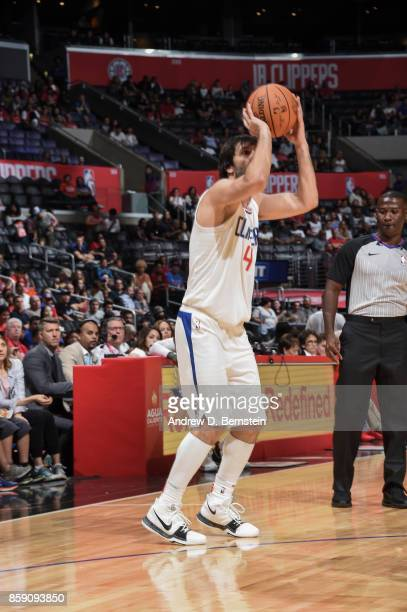 Milos Teodosic of the LA Clippers shoots the ball during the 2017 NBA PreSeason game against the Portland Trail Blazers on October 8 2017 at STAPLES...