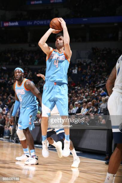 Milos Teodosic of the LA Clippers shoots the ball during the game against the Minnesota Timberwolves on March 20 2018 at Target Center in Minneapolis...