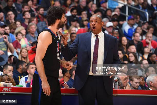 Milos Teodosic of the LA Clippers talks with Head Coach Doc Rivers during the game against the Cleveland Cavaliers on March 9 2018 at STAPLES Center...