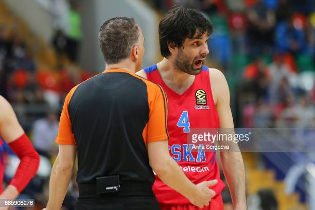Milos Teodosic of the CSKA Moscow exchanges words with a referee during the 2016/2017 Turkish Airlines EuroLeague Regular Season Round 30 game...