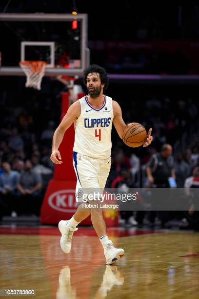 Milos Teodosic of the Los Angeles Clippers dribbles the ball during the game against the Denver Nuggets on October 9, 2018 at STAPLES Center in Los...