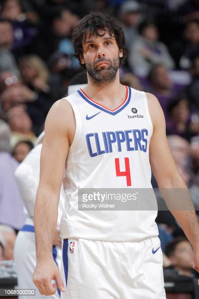 Milos Teodosic of the Los Angeles Clippers looks on during the game against the Sacramento Kings on November 29, 2018 at Golden 1 Center in...