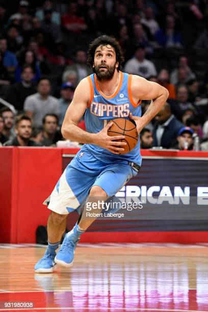 Milos Teodosic of the Los Angeles Clippers plays against the New Orleans Pelicans at STAPLES Center on March 6 2018 in Los Angeles California NOTE TO...