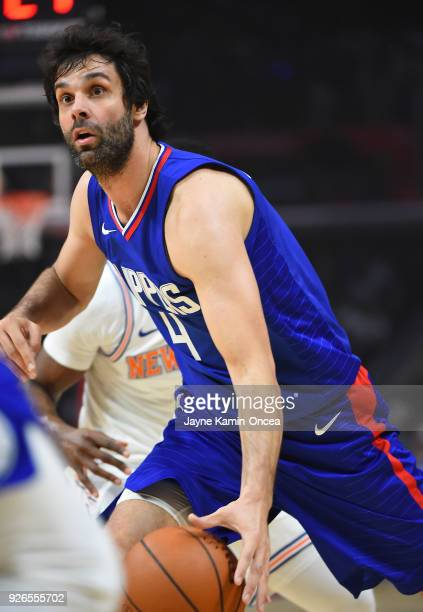 Milos Teodosic of the Los Angeles Clippers takes the ball down court in the first half against the New York Knicks at Staples Center on March 2 2018...