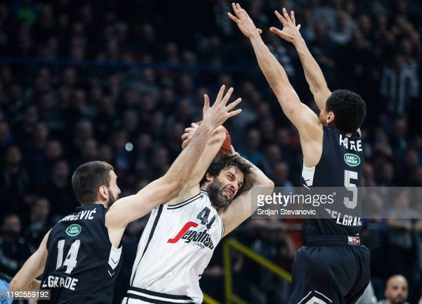 Milos Teodosic of Virtus Bologna is challenged by Stefan Bircevic and Marcus Paige of Partizan during the 2019/2020 Turkish Airlines EuroLeague...