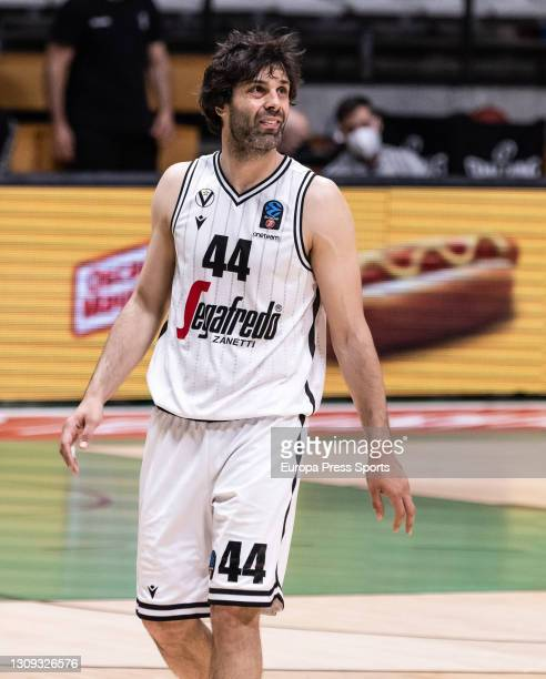 Milos Teodosic of Virtus Segafredo Bologna gestures during the EuroCup, Quarterfinals game 2, basketball match played between Juventut Badalona and...