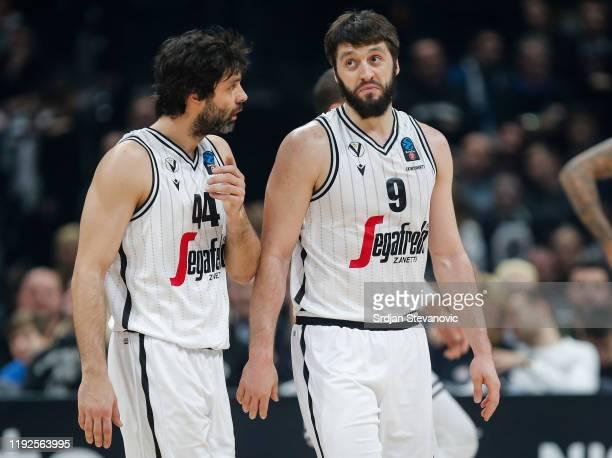 Milos Teodosic speaks to Stefan Markovic of Virtus Bologna during the 2019/2020 EuroCup Top 16 Season match between KK Partizan and Segafredo Virtus...