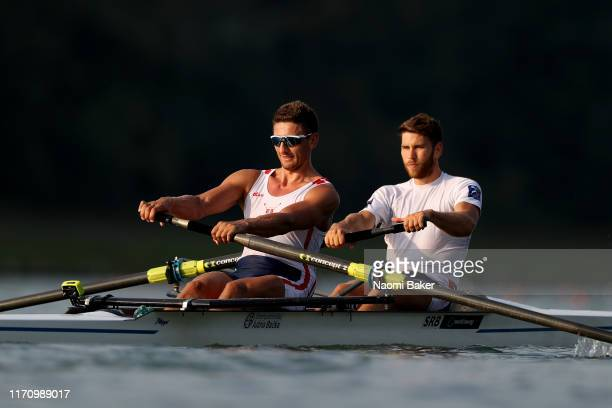 Milos Vasic and Martin Mackovic of Serbia in action during Day Three of the 2019 World Rowing Championships on August 27 2019 in LinzOttensheim...