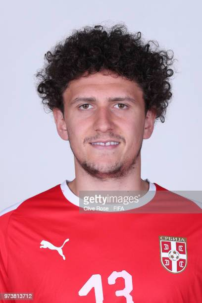 Milos Veljkovic of Serbia poses for a portrait during the official FIFA World Cup 2018 portrait session at the Team Hotel on June 12 2018 in...