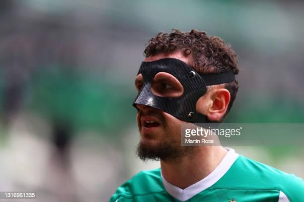 Milos Veljkovic of Werder Bremen looks on during the Bundesliga match between SV Werder Bremen and Bayer 04 Leverkusen at Wohninvest Weserstadion on...