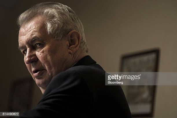 Milos Zeman Czech president speaks during an interview in Chyse Czech Republic on Wednesday March 9 2016 Zeman will name at least one new member to...