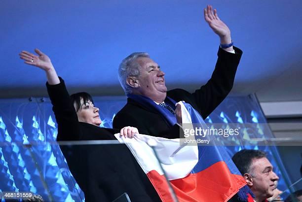 Milos Zeman, President of Czech Republic and his wife Ivana Zemanova cheer for the competitors of Czech Republic during the Opening Ceremony of the...