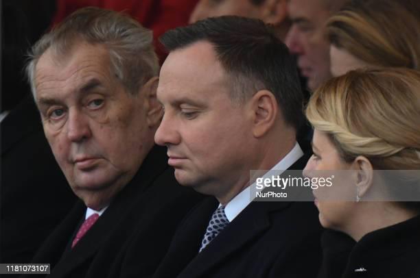 Milos Zeman, President of the Czech Republic, Andrzej Duda, President of Poland, and Zuzana Caputova, President of the Slovak Republic, seen at a...