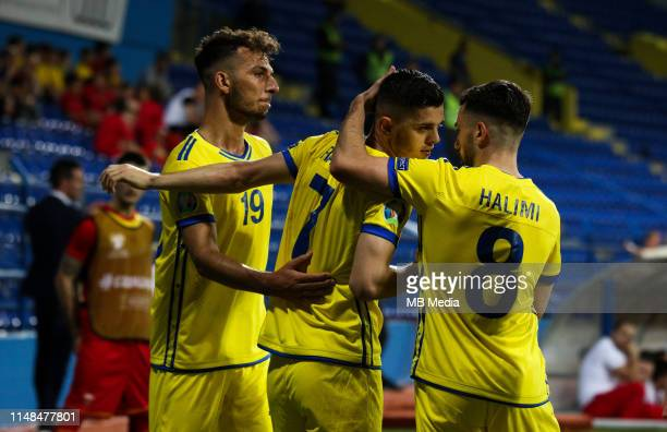 Milot Rashica and Besar Halimi of Kosovo celebrating goal during the 2020 UEFA European Championships group A qualifying match between Montenegro and...
