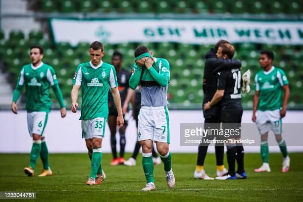 Milot Rashica of Bremen looks dejected after during the Bundesliga match between SV Werder Bremen and Borussia Moenchengladbach at Wohninvest...