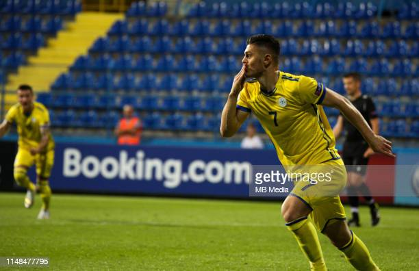 Milot Rashica of Kosovo celebrates goal during the 2020 UEFA European Championships group A qualifying match between Montenegro and Kosovo at...