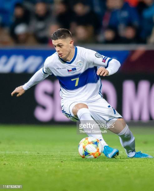 Milot Rashica of the Kosovo in action during the UEFA Euro 2020 Qualifier between Czech Republic and Kosovo on November 14, 2019 at Doosan Arena in...