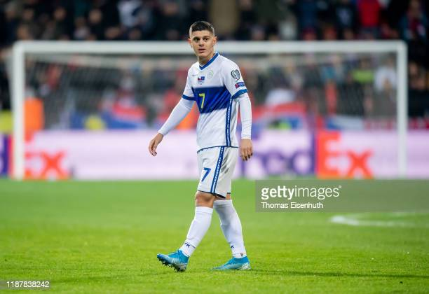 Milot Rashica of the Kosovo reacts during the UEFA Euro 2020 Qualifier between Czech Republic and Kosovo on November 14, 2019 at Doosan Arena in...