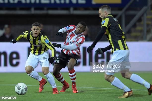 Milot Rashica of Vitesse Sherel Floranus of Sparta Rotterdam Tim Matavz of Vitesse during the Dutch Eredivisie match between Sparta v Vitesse at the...