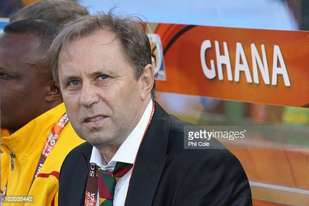 Milovan Rajevac head coach of Ghana looks thoughtful during of the 2010 FIFA World Cup South Africa Group D match between Serbia and Ghana at Loftus...