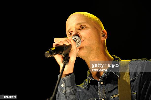 Milow performs on stage at the MitsubishiElectricHalle on October 27 2011 in Duesseldorf Germany
