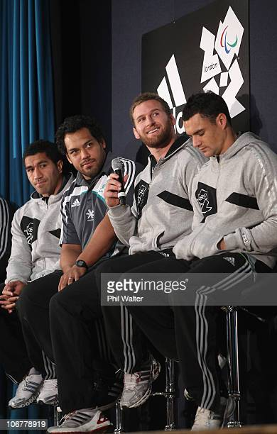 Mils Muliaina John Afoa Kieran Read and Dan Carter of the New Zealand All Blacks participate in a question and answer session as they visit...