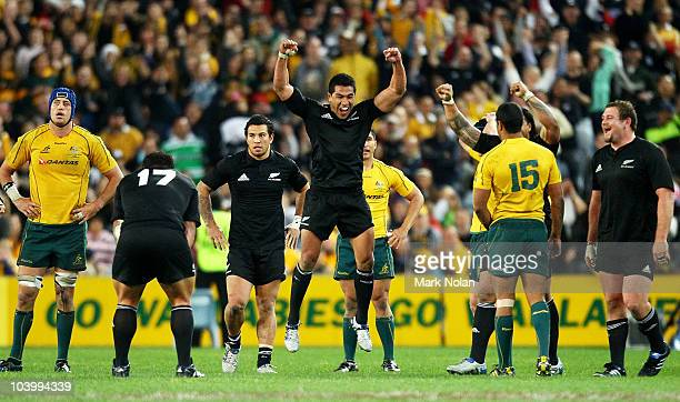 Mils Muliaina of the All Blacks celebrates victory after the 2010 TriNations Bledisloe Cup match between the Australian Wallabies and the New Zealand...