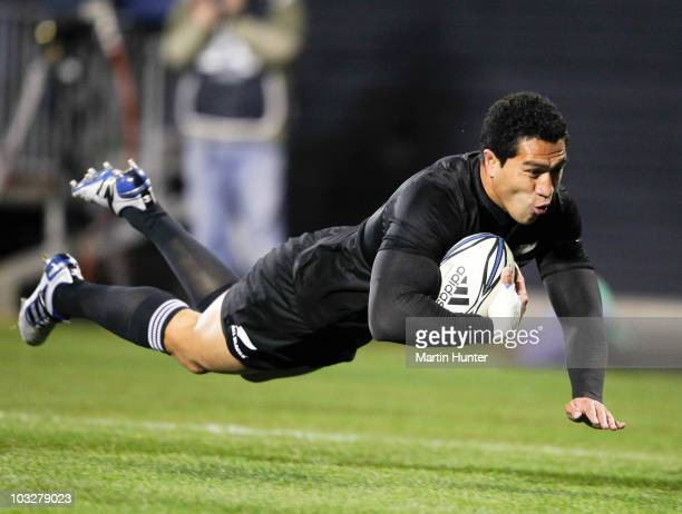 Mils Muliaina of the All Blacks dives over to score during the 2010 TriNations Bledisloe Cup match between the Australian Wallabies and the New...