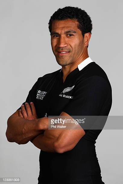 Mils Muliaina of the All Blacks poses during a New Zealand All Blacks IRB Rugby World Cup 2011 headshot session at the Heritage Hotel on September 2...