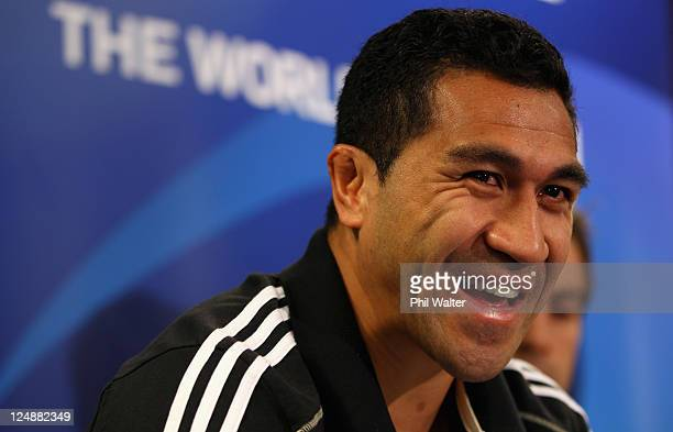 Mils Muliaina of the All Blacks speaks during a New Zealand All Blacks IRB Rugby World Cup 2011 media session at the Novotel Tainui Hotel on...