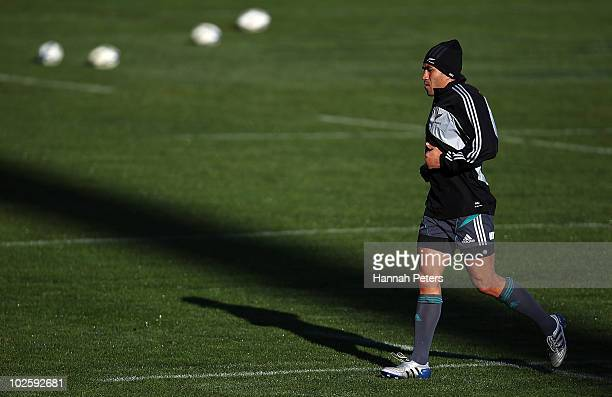 Mils Muliaina warms up during a New Zealand All Blacks training session at North Harbour Stadium on July 3 2010 in Auckland New Zealand
