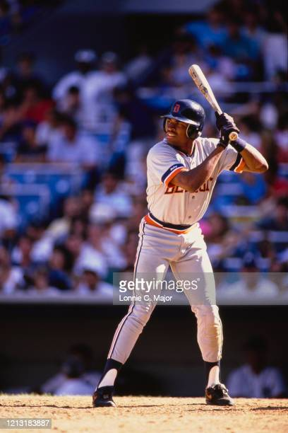 Milt Cuyler, Centerfielder for the Detroit Tigers at bat during the Major League Baseball American League East game against the New York Yankees on...