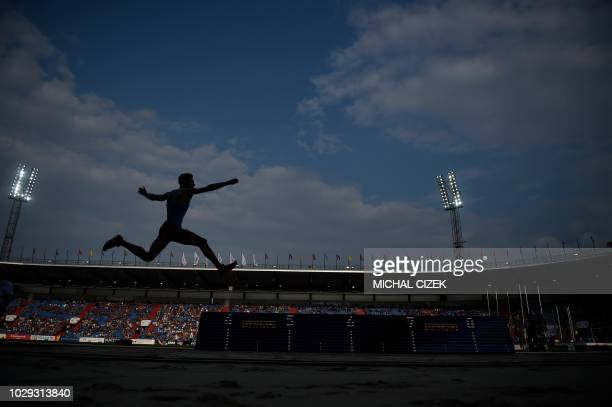 TOPSHOT Miltiadis Tenttoglou of Greece from Team Europe competes in the Men Long Jump event at the IAAF Continental Cup on September 8 2018 in...